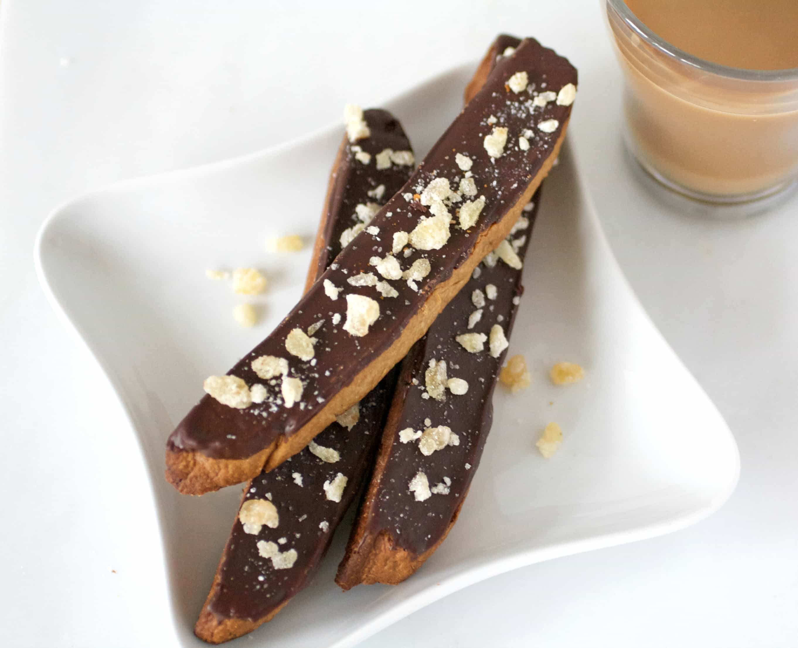 Candied Ginger Biscotti with Dark Chocolate -