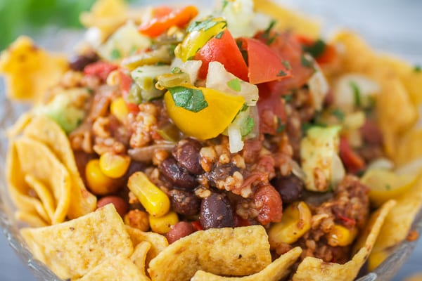 Vegetarian Chili Frito Pie • Tasty Ever After
