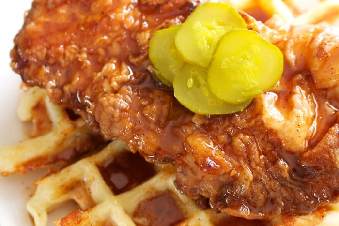 Hot Chicken and Jalapeño Bacon Cheddar Waffle