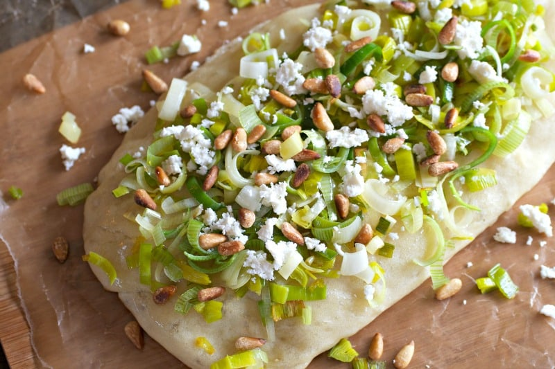 Leek Focaccia with Feta and Toasted Pine Nuts