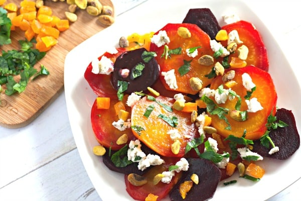 Beet Salad with Goat Cheese, Apricots, and Pistachios -