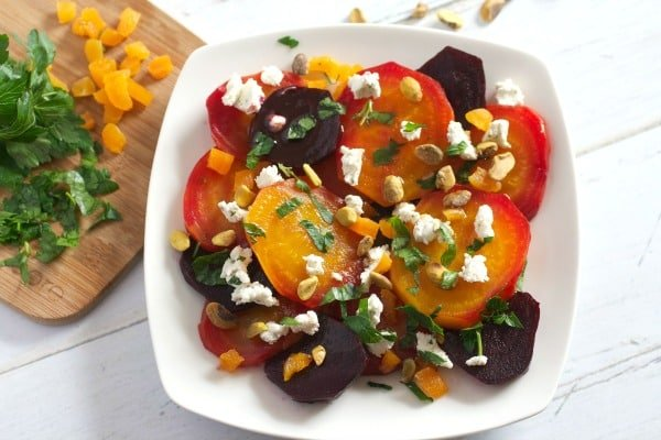 easy and healthy Beet Salad with Goat Cheese, Apricots, and Pistachios ...