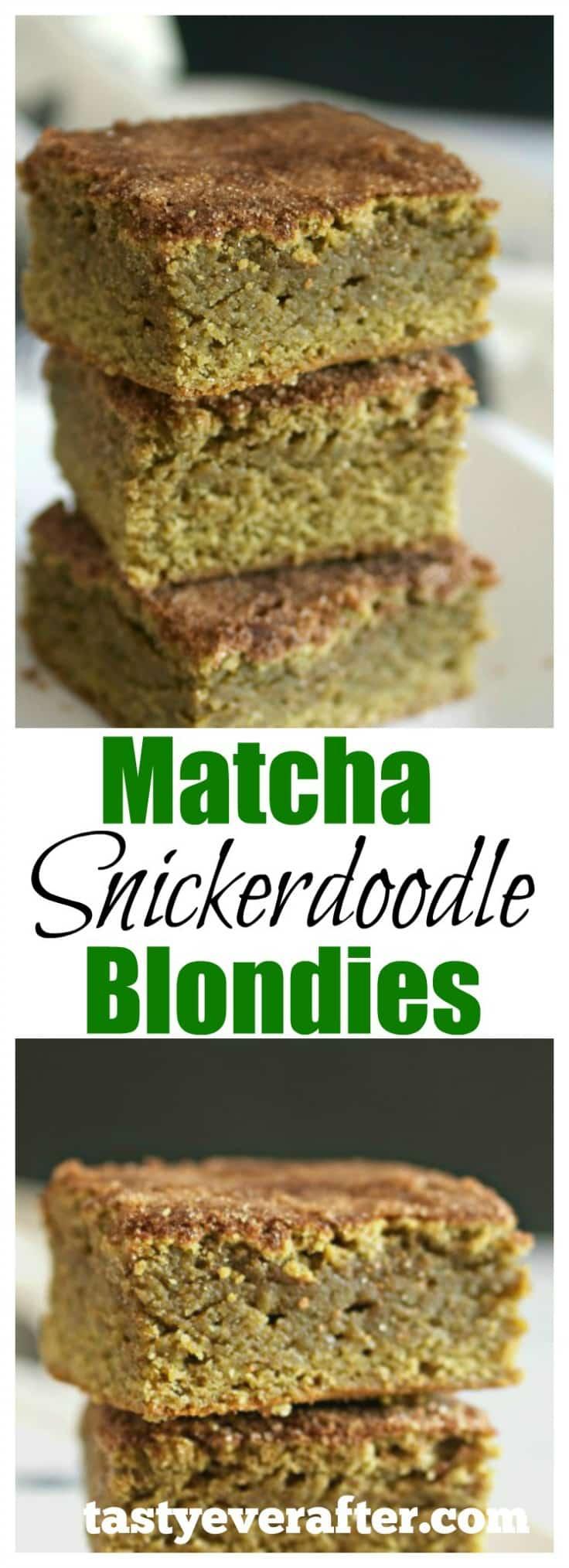 Matcha Snickerdoodle Blondies