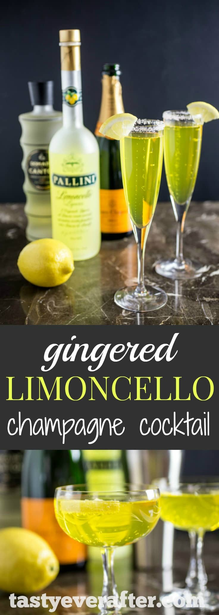 Gingered Limoncello Champagne Cocktai