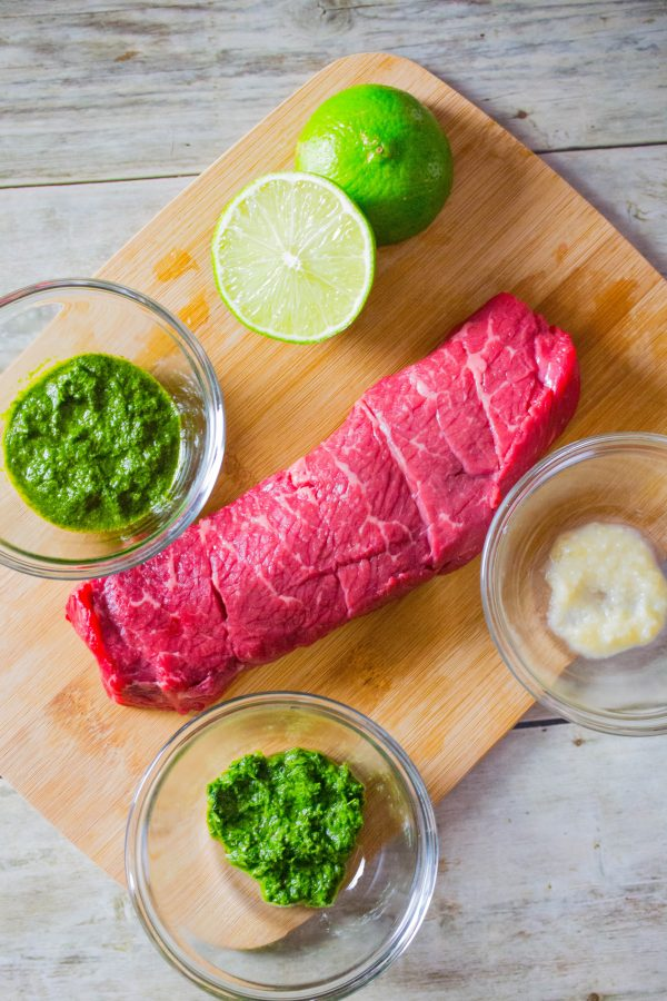 Easy Herb Crusted Steak + Chimichurri with Dorot