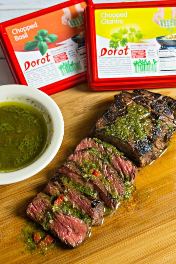 Easy Herb Crusted Steak + Chimichurri with Dorot Recipe