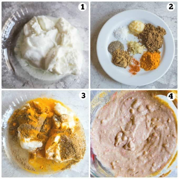 Step by step photos making tandoori chicken marinade