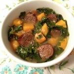 Paleo Chorizo, Kale, and Sweet Potato Soup