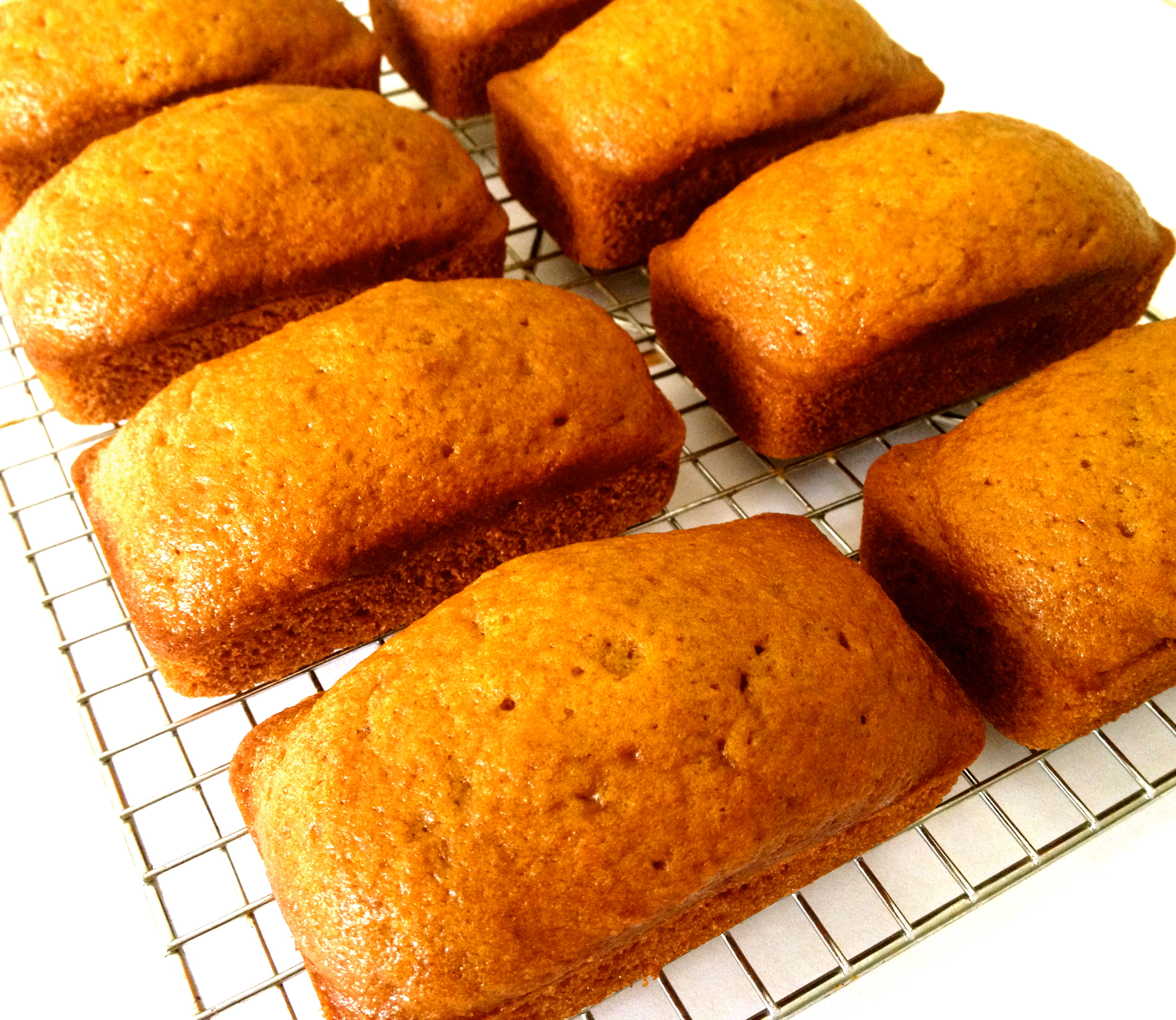 Quick bread loaves made with pumpkin puree and spices