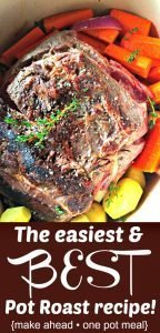 Best pot roast recipe with roast in a pan surrounded by carrots, onion, and potatoes