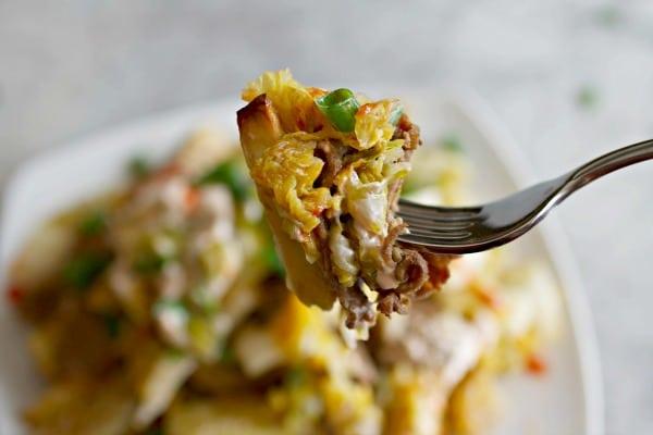 Bulgogi Kimchi Fries on a fork