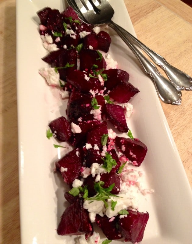 Healthy Roasted Beets with Feta Cheese and Basil