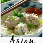 Asian meatball noodle soup pinterest image