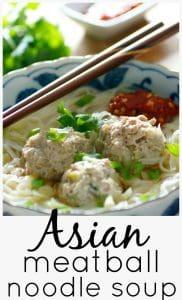 Asian meatball noodle soup pinterest image