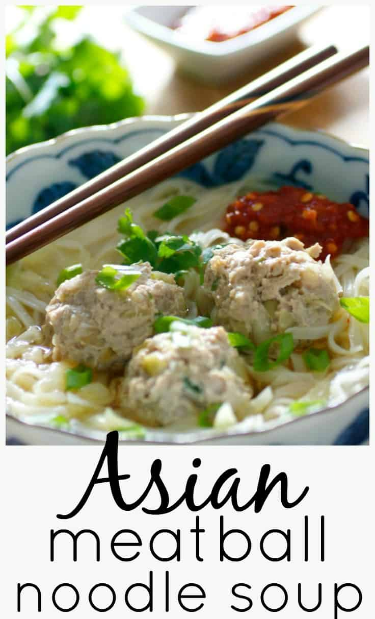 This Asian Meatball Noodle Soup is a healthy and quick weekday dinner.  Pork meatballs simmered in chicken broth with cabbage and topped with rice noodles, chili garlic hot sauce, and fresh cilantro.   A deliciously easy and comforting soup! #souprecipe #meatballs #tastyeverafter #comfortfood #asian #chickensoup #noodles #healthy #winterrecipe #easydinner