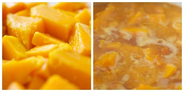 Butternut squash cut and cooking side by side photos