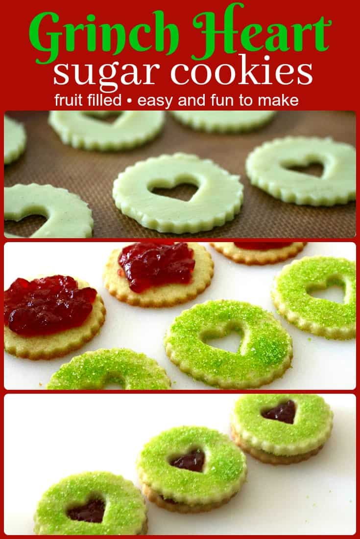 Grinch Heart Raspberry Filled Sugar Cookies Recipe Tasty Ever After