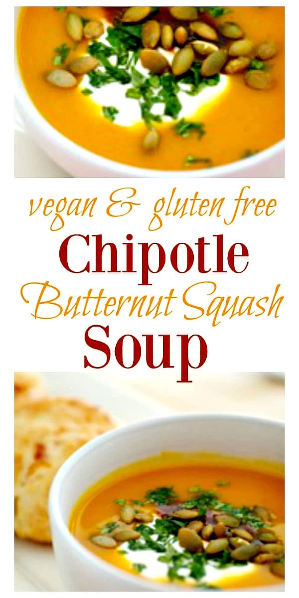 This deliciously creamy and super easy Roasted Butternut Squash Soup is made with farm-to-table veggies and a smoky chipotle sauce.  Make ahead of time and freeze for up to 3 months! #souprecipe #butternutsquash #winterrecipe #comfortfood #healthy #paleo #tastyeverafter #vegetarian