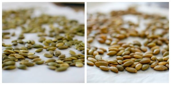 raw and raosted pumpkin seeds side by side for roasted butternut squash soup