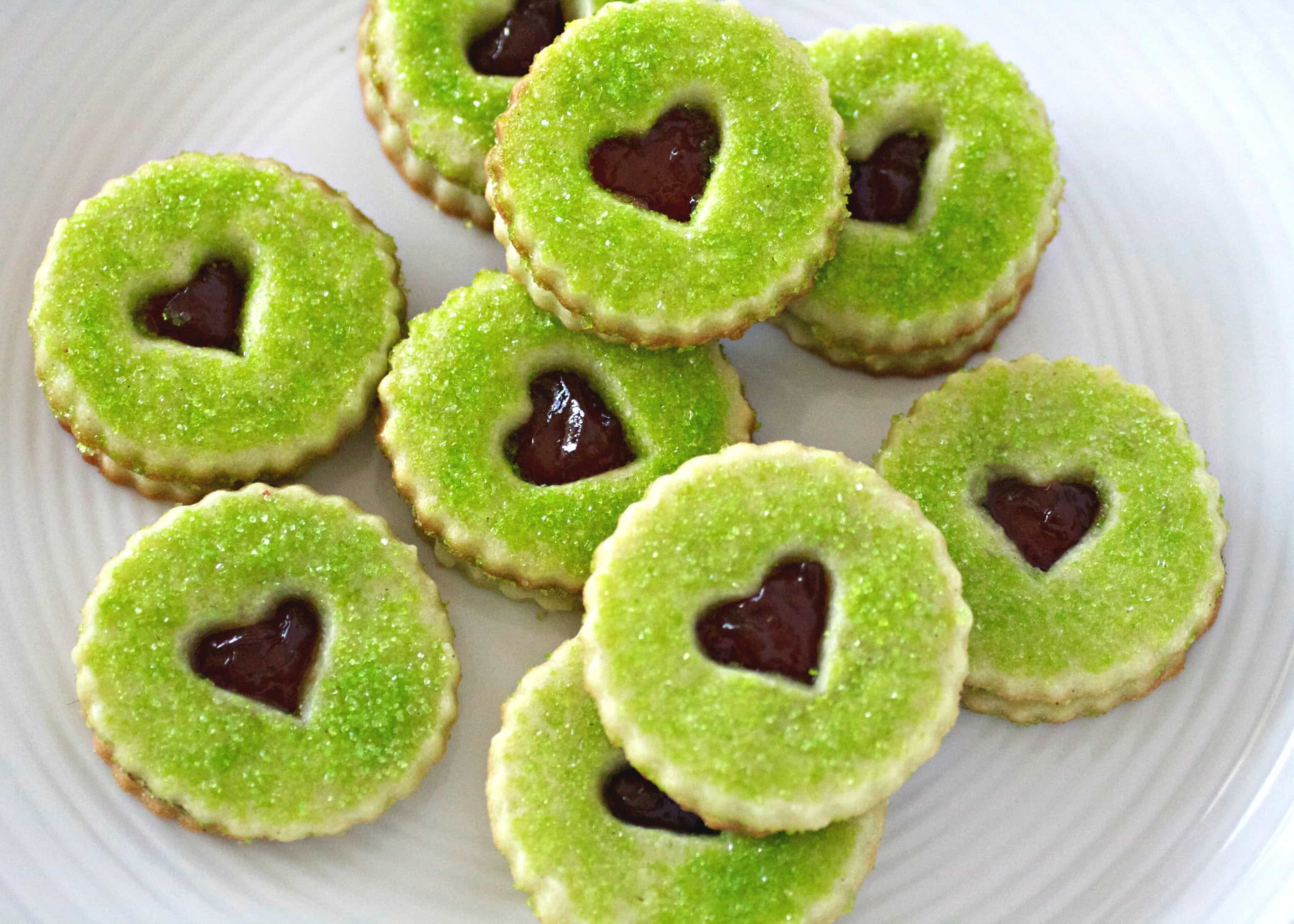 Grinch Heart Raspberry Filled Sugar Cookies Recipe