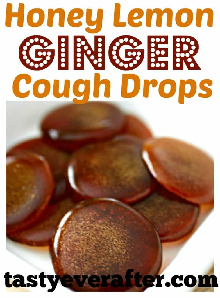Don't buy store cough drops, make your own homemade all-natural Honey Lemon Ginger Cough Drops!  Made with only 3 ingredients and in less than 30 minutes. #homemadecoughdrops #allnatural #tastyeverafter #honeylemoncoughdrops #winterrecipe