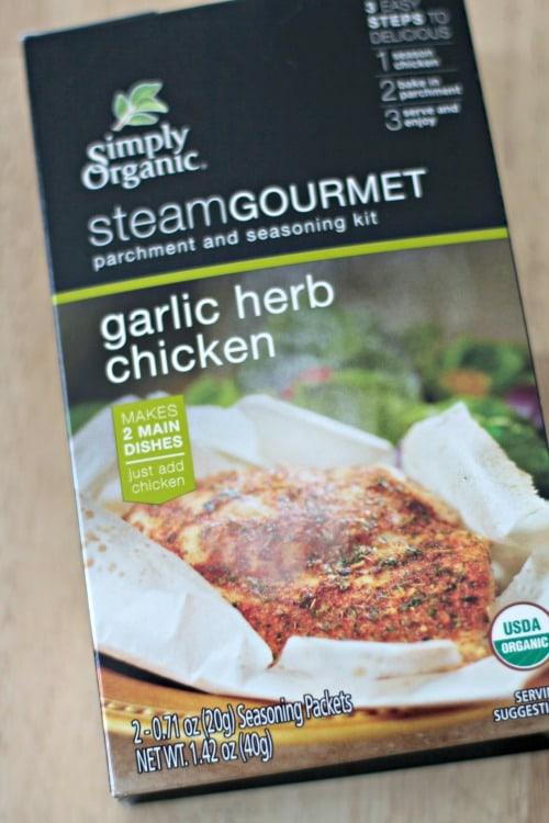 Box of Simply Gourmet SteamGourmet garlic herb chicken seasoning kit