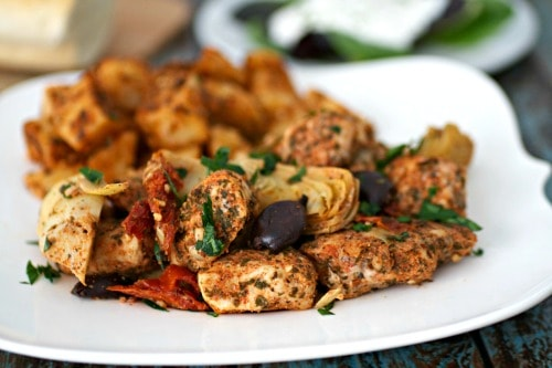 Close up of Mediterranean flavored Chicken, artichokes, olives, and potatoes