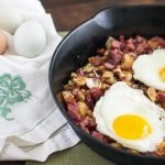 Corned Beef hash with dijon mustard cream sauce