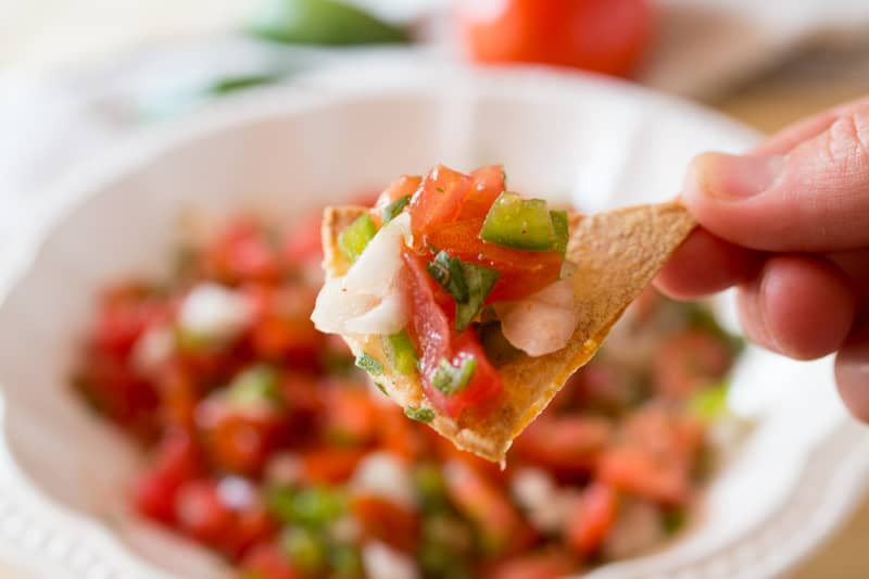Pico de gallo salsa on a chip