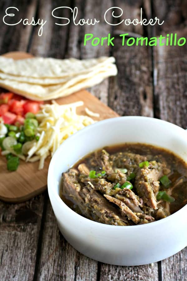 Break out the crock pot for this slow cooked pork in a tomatillo sauce flavored with cilantro, garlic, onions, and cumin.  A delicious filling for taco, burritos, or low carb it and eat it on it's own!  #mexicanrecipe #pork #slowcooker #healthyrecipe #easyrecipe #realfood #sundaydinner #tacotuesday #crockpot