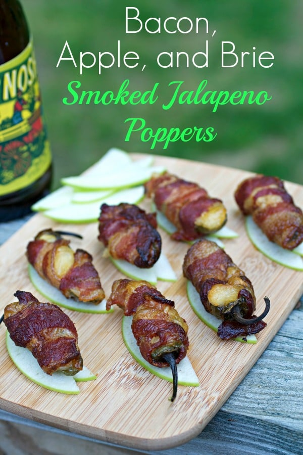 Get out the smoker and make these easy, low carb, deliciously spicy bites.  Smoked Jalapeño Poppers with Bacon + Apple + Brie will be the hit of any BBQ cookout party! #bbqfood #bbqappetizer #easyappetizer #keto #paleo #lowcarb #jalapenopoppers #smoked #tastyeverafter
