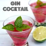 Raspberry Lime Basil Gin Cocktail Pinterest pin