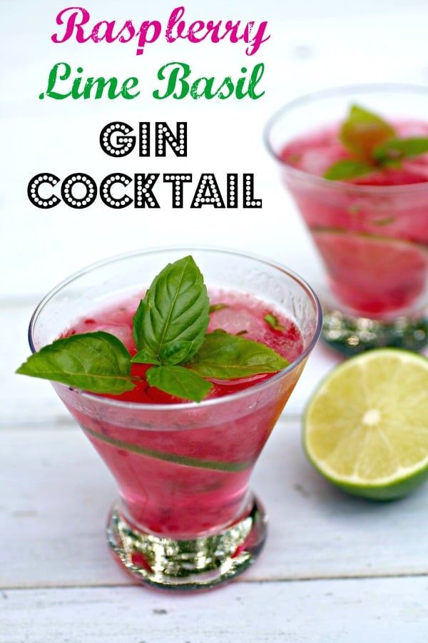 Raspberry Lime Basil Gin Cocktail pinterest PIN