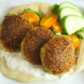 Easy Falafel on pita bread with cucumber yogurt sauce