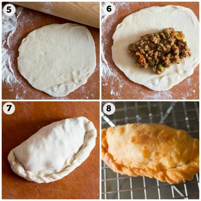 Step by step photos making beef hand pies