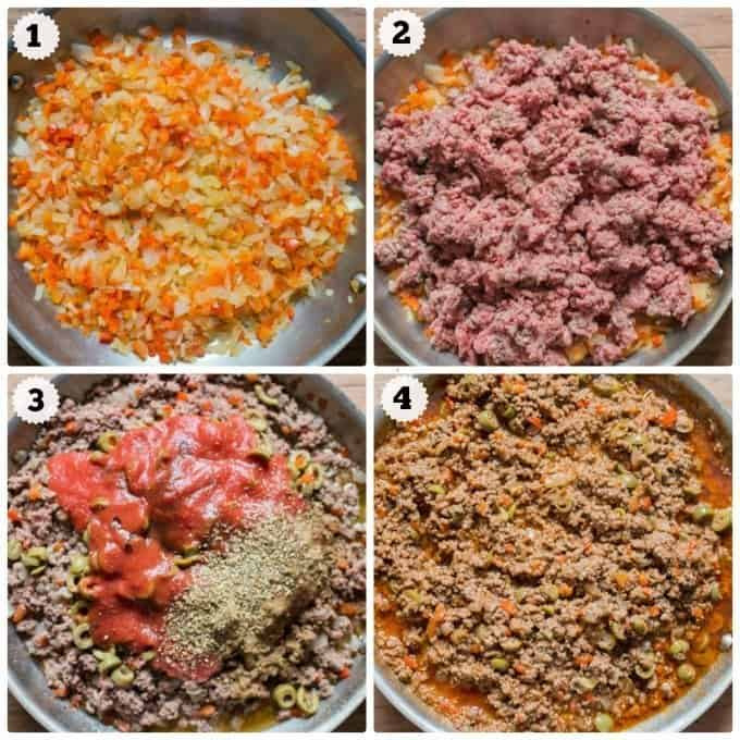 Step by step photos of making picadillo