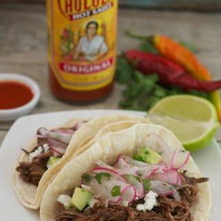 Slow Cooker Cholula Shredded Beef Tacos