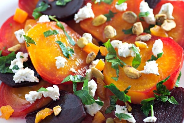 Beet Salad With Goat Cheese Apricots and Pistachios