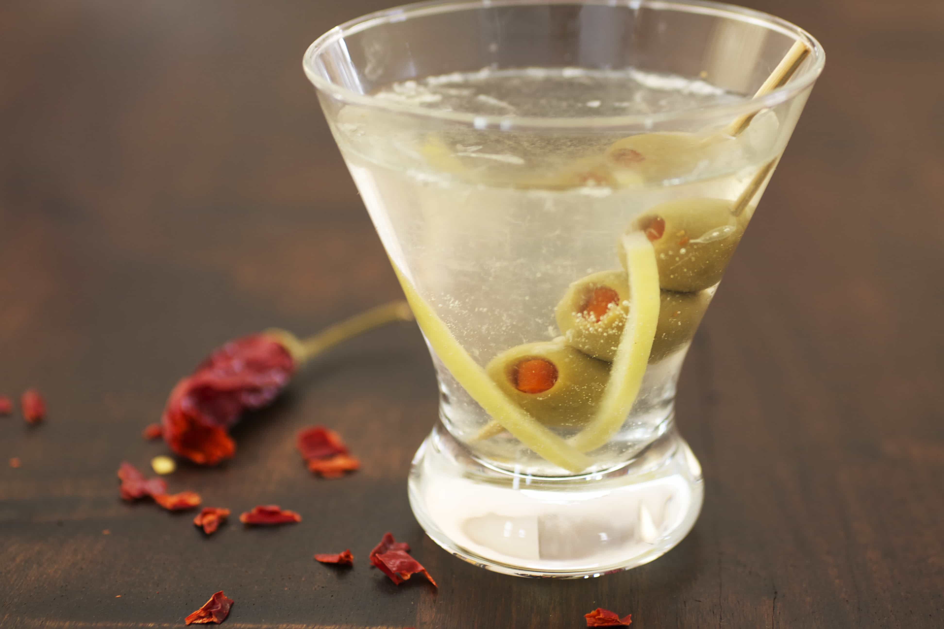Preserved Lemon Martini with Spicy Olives
