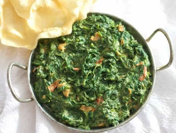 Easy Indian Creamed Spinach Vegetarian Recipe Tasty Ever After