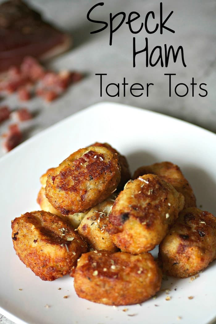 Crispy brown Speck Ham Tater Tots on a plate with herbs on top