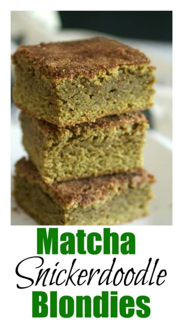 Matcha Snickerdoodle Blondies are a wonderful combination of chewy snickerdoodles and buttery blondies, with a touch of earthy green tea flavor and topped with a crunchy cinnamon/sugar mixture.  A delicious alternative to the typical chocolate dessert! #easydessert #blondies #matcha #chocolatefree #tastyeverafter #snickerdoodles