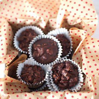 Crispy Tahini Chocolate Cups in a candy box