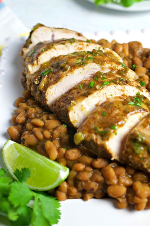 Instant Pot Salsa Verde Turkey and Beans