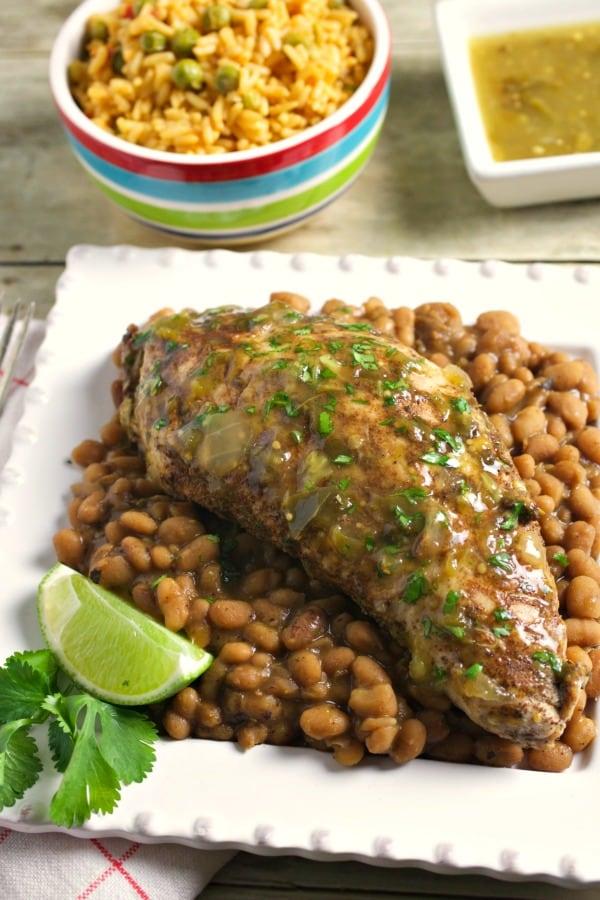 Instant Pot Salsa Verde Turkey and Beans