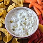 Artichoke and Jalapeño Dip with corn chips and veggies (Copycat Trader Joe's)