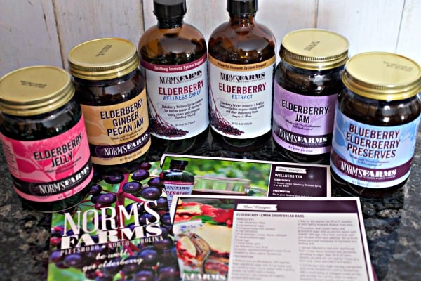 A variety of Norm's Farms Elderberry products, like jam, preserves, and extract