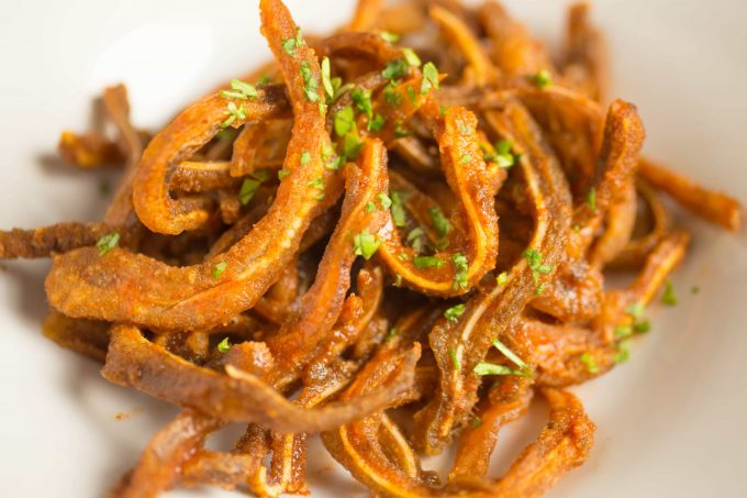 Close up photo of Crunchy Buffalo Pig Ear strips