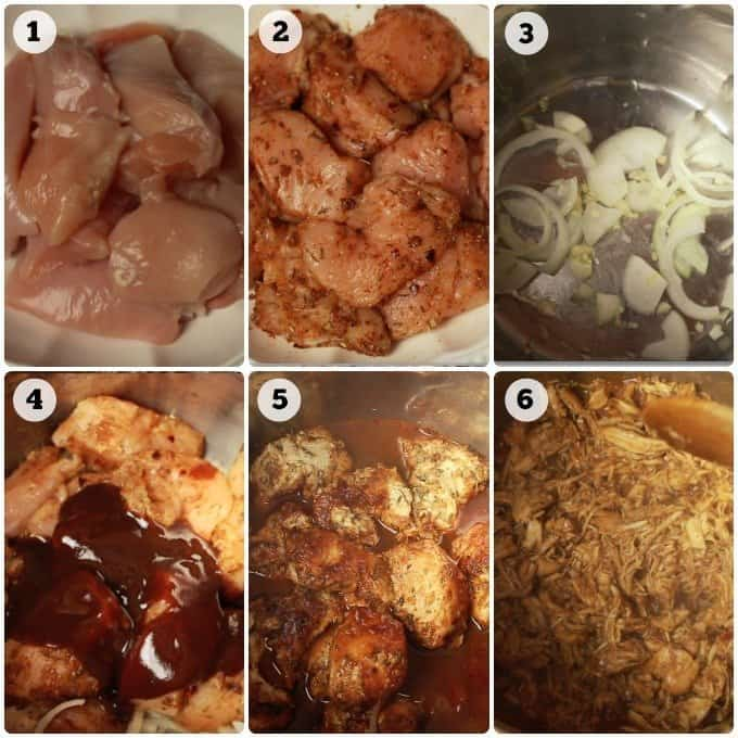Step by step cooking pictures of making barbecue chicken in an Instant Pot