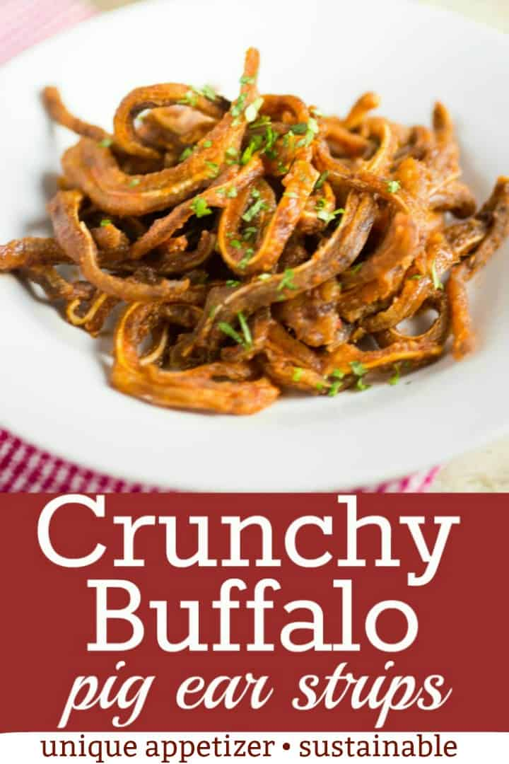 Embrace the nose to tail philosophy of sustainable eating with this Crunchy Buffalo Pig Ear Recipe.  Strips of slow cooked pig ear are fried until crispy and tossed in a spicy buffalo sauce for an unique appetizer! #porkrecipe #uniqueappetizer #tastyeverafter #spicy #pigears